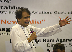 "April 27, 2019 - Kolkata, West Bengal, India - Union Minister for Commerce & Industry and civil aviation Suresh Prabhu address on ""Perspective on New India"" organized by Dr Syama Prasad Mookerjee Research Foundation. (Credit Image: © Saikat Paul/Pacific Press via ZUMA Wire)"