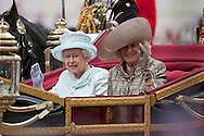 "QUEEN AND CAMILLA, DUCHESS OF CORNWALL.take a carriage ride from Westminster Hall to Buckingham Palace after lunch, in celebration of the Queen's Diamond Jubilee_5th June 2012.Mandatory Credit Photo: ©A Linnett/NEWSPIX INTERNATIONAL..**ALL FEES PAYABLE TO: ""NEWSPIX INTERNATIONAL""**..IMMEDIATE CONFIRMATION OF USAGE REQUIRED:.Newspix International, 31 Chinnery Hill, Bishop's Stortford, ENGLAND CM23 3PS.Tel:+441279 324672  ; Fax: +441279656877.Mobile:  07775681153.e-mail: info@newspixinternational.co.uk"