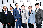 (L-R) Ernie Bates, Valentino Ponsonby, Emile Welman, Eduard Leonard, Shane Smit and Riann Weyers from Mrs. Eastwood & Company attend the E! Network Upfront event at Gotham Hall in New York City, New York on April 30, 2012.