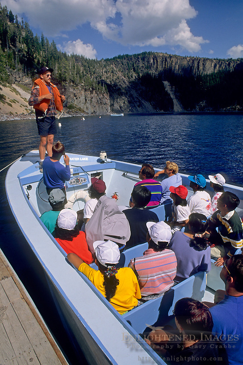 Ranger gives safety talk prior to taking tourists on boat ride, Crater Lake National Park, Oregon
