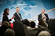 Bill Gates and Jens Stoltenberg during discussion about international health at Astrup Fearnley Museum in Oslo.