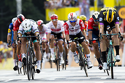 July 6, 2019 - Brussels, Belgium - Dutch Mike Teunissen of Team Jumbo-Visma (R) wins before Slovakian Peter Sagan of Bora-Hansgrohe (L) and Australian Caleb Ewan of Lotto Soudal (C) the sprint at the finish of the first stage of the 106th edition of the Tour de France cycling race, 194,5km from and to Brussels, Belgium, Saturday 06 July 2019. This year's Tour de France starts in Brussels and takes place from July 6th to July 28th. (Credit Image: © Kristof Van Accom/Belga via ZUMA Press)