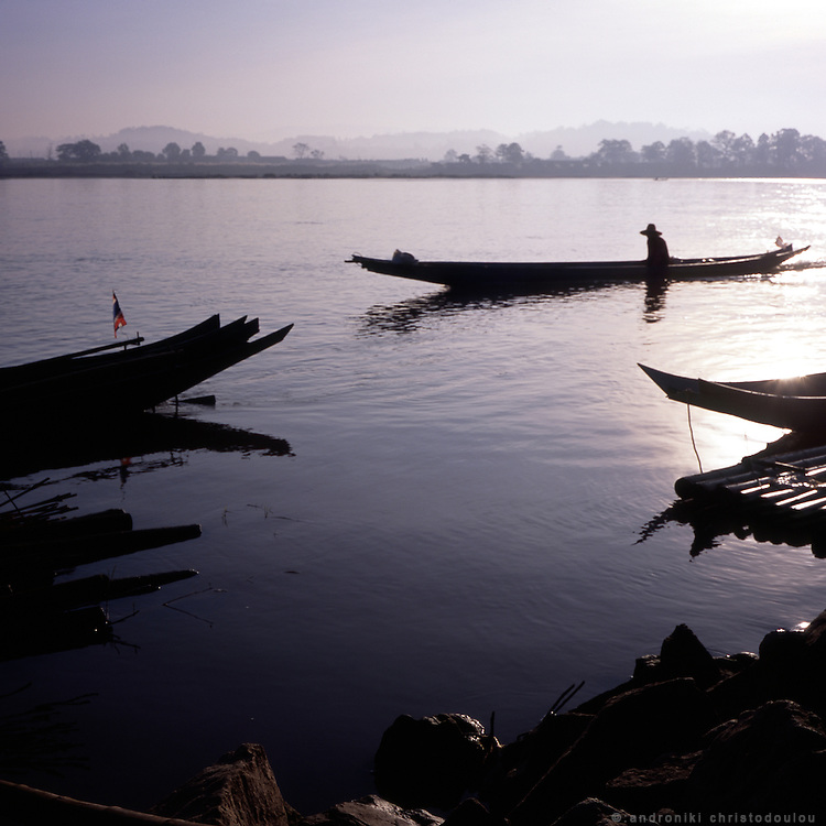 Fishermen's boats on Mecong river between Thailand and Laos near Sop Ruak town