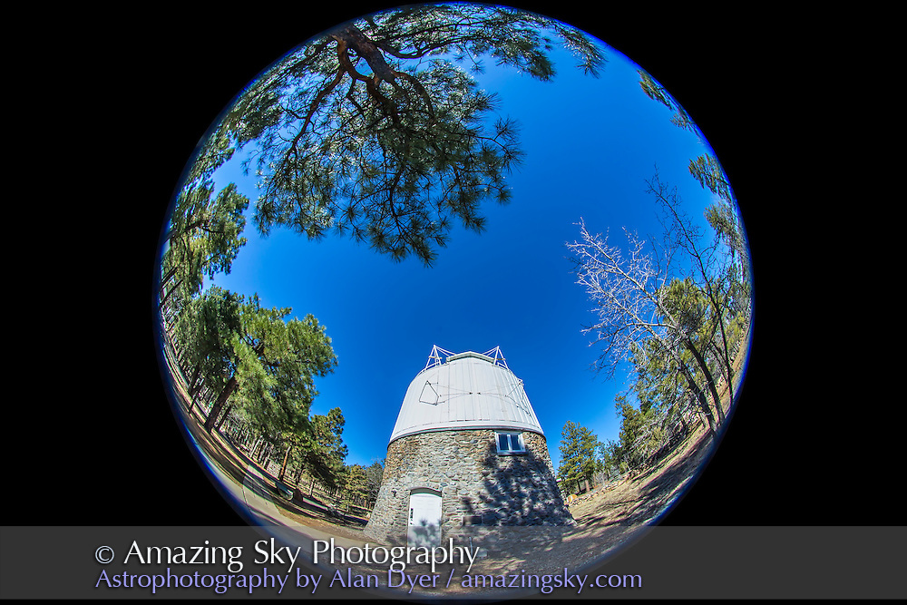 A full-dome, all-sky image of the Lowell Observatory taken Feb 8, 2015 using an 8mm Sigma fish-eye lens on a Canon 6D, by Alan Dyer (www.amazingsky.com)