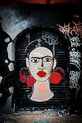 A Frida Kahlo-like face painted on a building in Miami's Wynwood art district