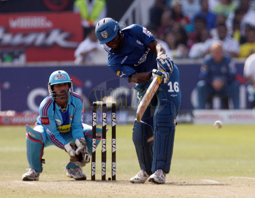 DURBAN, SOUTH AFRICA - 25 April 2009. Dwayne Smith plays a shot with keeper Pinal Shahlooking on during the IPL Season 2 match between the Mumbai Indians and the Deccan Chargers held at Sahara Stadium Kingsmead, Durban, South Africa...