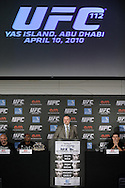 "ABU DHABI, UNITED ARAB EMIRATES, APRIL 7, 2010: Marshall Zelaznik, VP of international development for the UFC, is pictured during the pre-fight press conference for ""UFC 112: Invincible"" at the Rotana Hotel in Abu Dhabi on April 7, 2010. (Martin McNeil)"