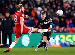 Samu Saiz of Leeds United passes the ball past Adam Clayton of Middlesbrough - Mandatory by-line: Robbie Stephenson/JMP - 02/03/2018 - FOOTBALL - Riverside Stadium - Middlesbrough, England - Middlesbrough v Leeds United - Sky Bet Championship
