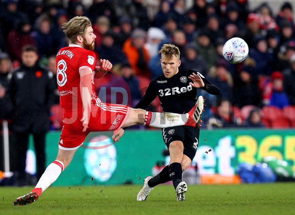 Samu Saiz of Leeds United passes the ball past Adam Clayton of Middlesbrough - Mandatory by-line: Robbie Stephenson/JMP - 02/03/2018 - FOOTBALL - Riverside Stadium - Middlesbrough, England - Middlesbrough v Leeds United - Sky Bet Championship