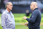 Forest Green Legends manager, Frank Greegan and Trevor Horsley XI manager Gary Hill during the Trevor Horsley Memorial Match held at the New Lawn, Forest Green, United Kingdom on 19 May 2019.