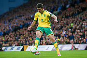 Norwich City striker Nelson Oliveira (9) crosses the ball in  during the EFL Sky Bet Championship match between Norwich City and Brighton and Hove Albion at Carrow Road, Norwich, England on 21 April 2017. Photo by Simon Davies.