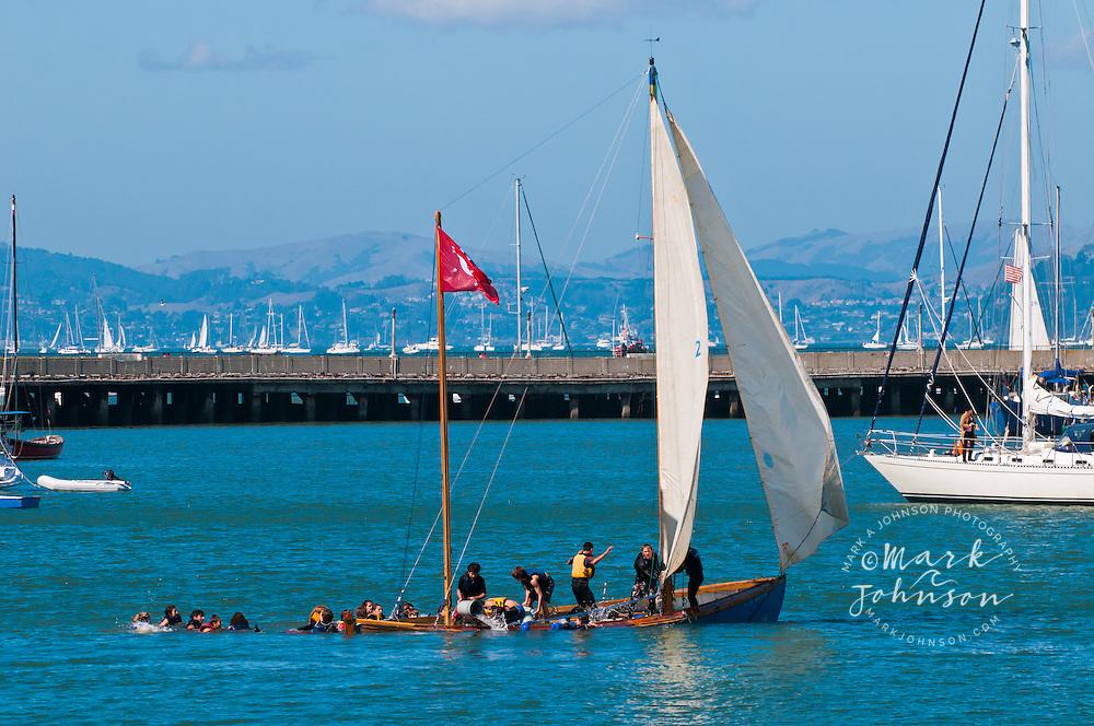 Sinking sailboat during Fleet Week Air Show, San Francisco, California, USA