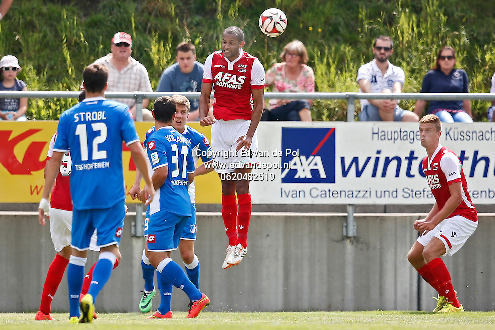 WEGGIS - 31-07-2014 - Hoffenheim - AZ,  Thermoplan Arena, oefenwedstrijd, 3-0, AZ speler Simon Poulsen (2vr), AZ speler Markus Henriksen (r).