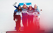 PYEONGCHANG-GUN, SOUTH KOREA - FEBRUARY 15: Charlotte Kalla of Sweden, Ragnhild Haga of Norway, Marit Bjoergen of Norway and Krista Parmakoski of Finland on the podium during the women's 10k free technique Cross Country competition at Alpensia Cross-Country Centre on February 15, 2018 in Pyeongchang-gun, South Korea. Photo by Nils Petter Nilsson/Ombrello               ***BETALBILD***