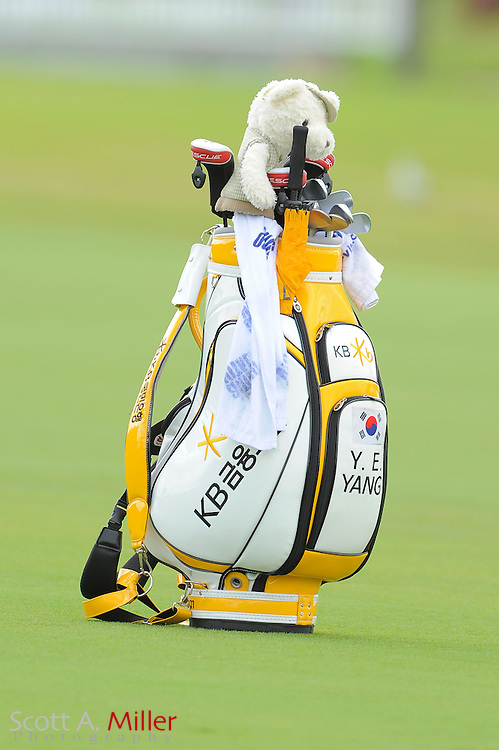 Y.E. Yang's bag sits on the fairway during the second round of the World Golf Championship Cadillac Championship on the TPC Blue Monster Course at Doral Golf Resort And Spa on March 9, 2012 in Doral, Fla. ..©2012 Scott A. Miller.