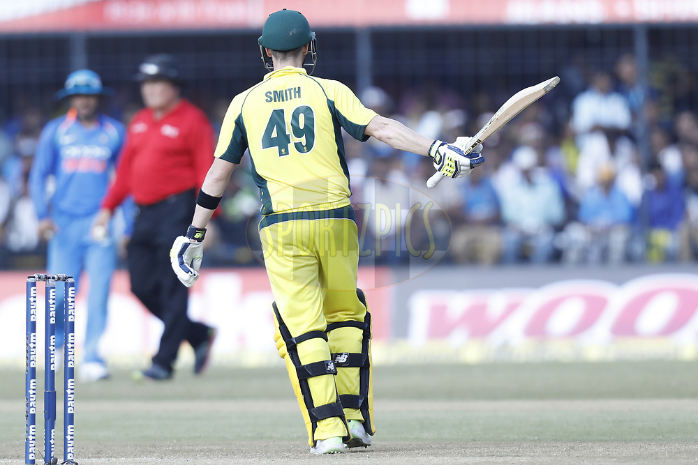 Steven Smith captain of Australia celebrates his Fifty during the 3rd One Day International between India and Australia held at the Holkar Stadium in Indore on the 24th  September 2017<br /> <br /> Photo by Arjun Singh / BCCI / SPORTZPICS