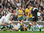 Twickenham, Great Britain,  Englands' No.8 Ben MORGAN celebrates scoring his first half try during the QBE Autumn International, England vs Australia, played at the RFU Stadium, Twickenham, ENGLAND. 15:02:38  Saturday  29/11/2014.  [Mandatory Credit; Peter Spurrier/Intersport-images]