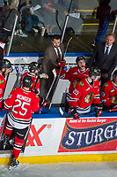 KELOWNA, CANADA - APRIL 8:  Assistant coach Oliver David fist pumps Ryan Hughes #19 of the Portland Winterhawks after scoring a goal against the Kelowna Rockets on April 8, 2017 at Prospera Place in Kelowna, British Columbia, Canada.  (Photo by Marissa Baecker/Shoot the Breeze)  *** Local Caption ***