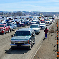 020113  Adron Gardner<br /> <br /> North 9th street floods with traffic at the flea market on a busy beginning to February in Gallup Saturday.