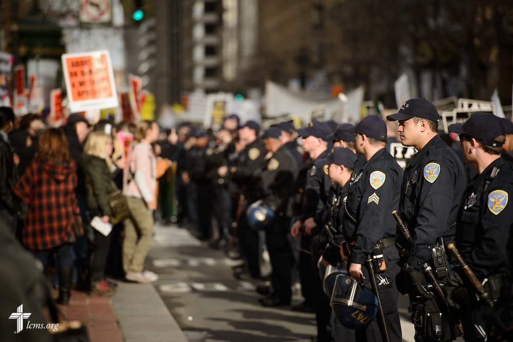 San Francisco Police officers form a line segregating abortion supporters (left) to pro-life marchers (behind police) at the 2016 Walk for Life West Coast on Saturday, Jan. 23, 2016, in San Francisco. LCMS Communications/Erik M. Lunsford