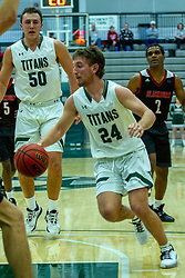 BLOOMINGTON, IL - November 12: Grant Wolfe during a college basketball game between the IWU Titans  and the Blackburn Beavers on November 12 2019 at Shirk Center in Bloomington, IL. (Photo by Alan Look)