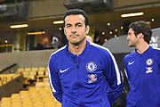 Chelsea Forward Pedro inspects the pitch during the Premier League match between Wolverhampton Wanderers and Chelsea at Molineux, Wolverhampton, England on 5 December 2018.