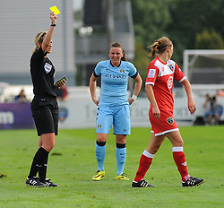Bristol Academy Womens' Loren Dykes gets booked. - Photo mandatory by-line: Nizaam Jones- Mobile: 07583 387221 - 28/09/2014 - SPORT - Women's Football - Bristol - SGS Wise Campus - BAWFC v Man City Ladies - sport