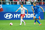 Lublin, Poland - 2017 June 16: (L) Przemyslaw Frankowski from Poland U21 fights for the ball with (R) Branislav Ninaj from Slovakia U21 while Poland v Slovakia match during 2017 UEFA European Under-21 Championship at Lublin Arena on June 16, 2017 in Lublin, Poland.<br /> <br /> <br /> Mandatory credit:<br /> Photo by &copy; Adam Nurkiewicz / Mediasport<br /> <br /> Adam Nurkiewicz declares that he has no rights to the image of people at the photographs of his authorship.<br /> <br /> Picture also available in RAW (NEF) or TIFF format on special request.<br /> <br /> Any editorial, commercial or promotional use requires written permission from the author of image.