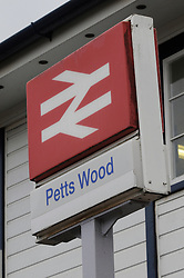© under license to London News Pictures. 18,11,2010 Pettswood station  the scene where a 53 year old woman killed after being hit by a train yesterday morning at 10.20am. Emergency services attened the scene.Police are not treating the incident as suspicious.The train involved was the 9.21 from Tunbridge Wells to Charing Cross.  Station sign Credit picture to Grant Falvey/London News Pictures