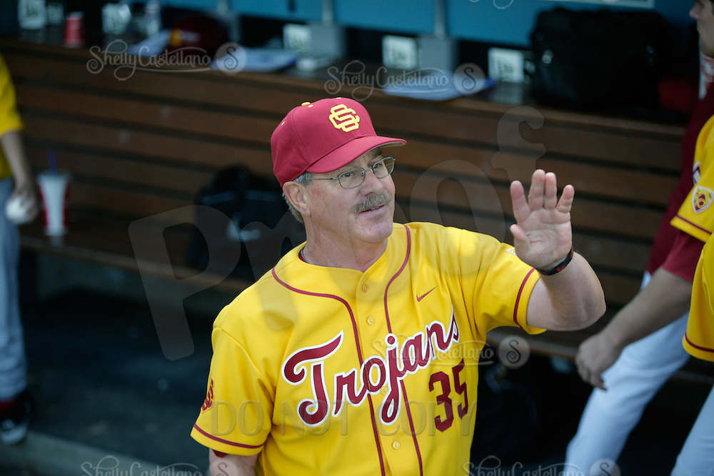 13 March 2011: NCAA Pac-10 college UCLA-USC sports rivalry baseball teams met in a non-conference game at Dodger Stadium as part of the Dodgertown Classic.  USC Trojans defeated the UCLA Bruins 2-0 during an afternoon weekend game inside the MLB stadium.  Volunteer Assistant Coach #35 Tom House.
