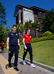 NANNING, CHINA - Tuesday, March 20, 2018: Wales' sports science coach Adam Owen and Harry Wilson during a team walk at the Wanda Realm Resort ahead of the 2018 Gree China Cup International Football Championship. (Pic by David Rawcliffe/Propaganda)