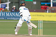 Hassan Azad avoids a Richard Gleeson bouncer during the Specsavers County Champ Div 2 match between Leicestershire County Cricket Club and Lancashire County Cricket Club at the Fischer County Ground, Grace Road, Leicester, United Kingdom on 26 September 2019.