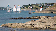 Sailing race at St Mawes estuary, Cornwall, UK