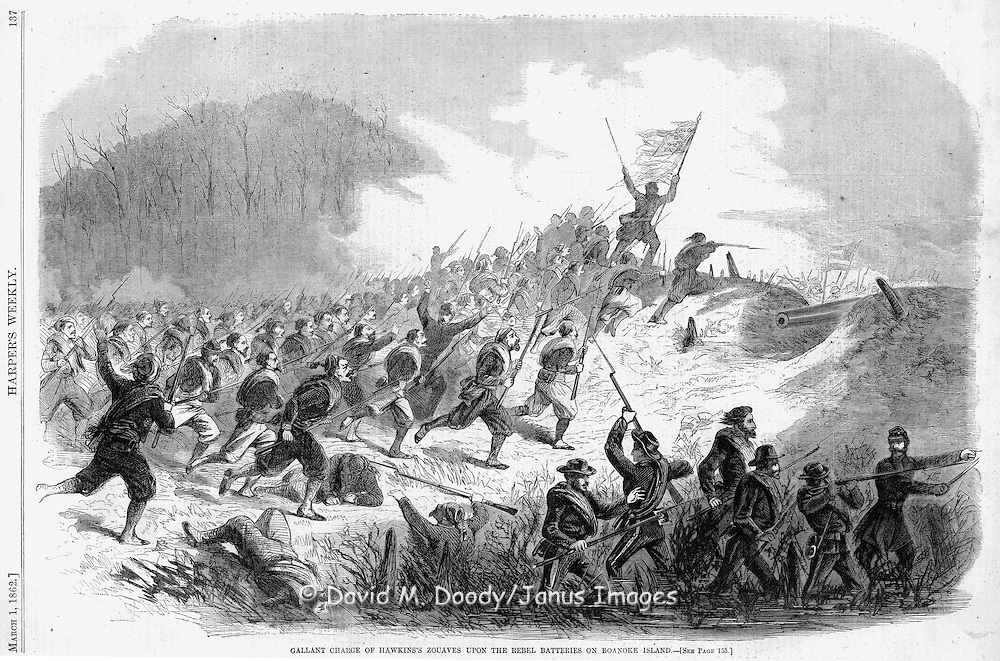 Civil War: Gallant Charge of the Hawkins Zouaves upon the Rebel Batteries on Roanoke Island North Carolina Harper's Weekly March 1, 1862