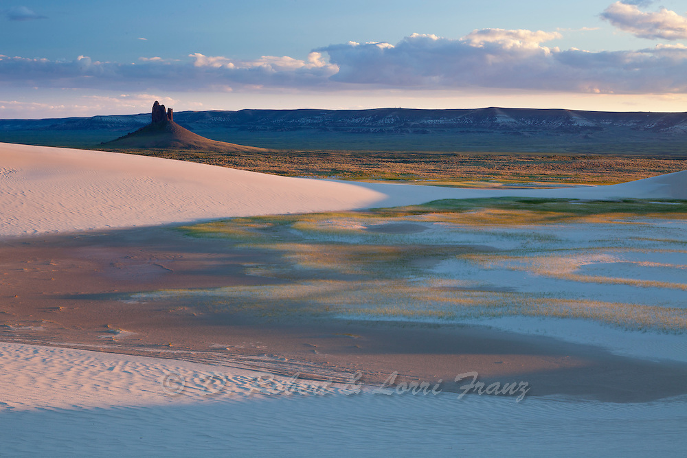 Killpecker Dunes in the Red Desert of Wyoming with the Boars Tusk in the distance
