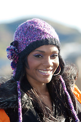 Miss US Virgin Islands Esonica Veira..The Miss World participants visit Edinburgh Castle and will witness the firing of the One O'clock gun..MISS WORLD 2011 VISITS SCOTLAND..Pic © Michael Schofield.