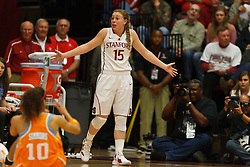 Dec 20, 2011; Stanford CA, USA;  Stanford Cardinal guard Lindy La Rocque (15) reacts after being called for a foul against Tennessee Lady Volunteers guard Meighan Simmons (10) during the second half at Maples Pavilion.  Stanford defeated Tennessee 97-80. Mandatory Credit: Jason O. Watson-US PRESSWIRE