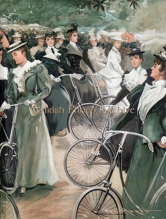 Society ladies cycling in Hyde Park, London. From 'Vanity Fair' London June 1896