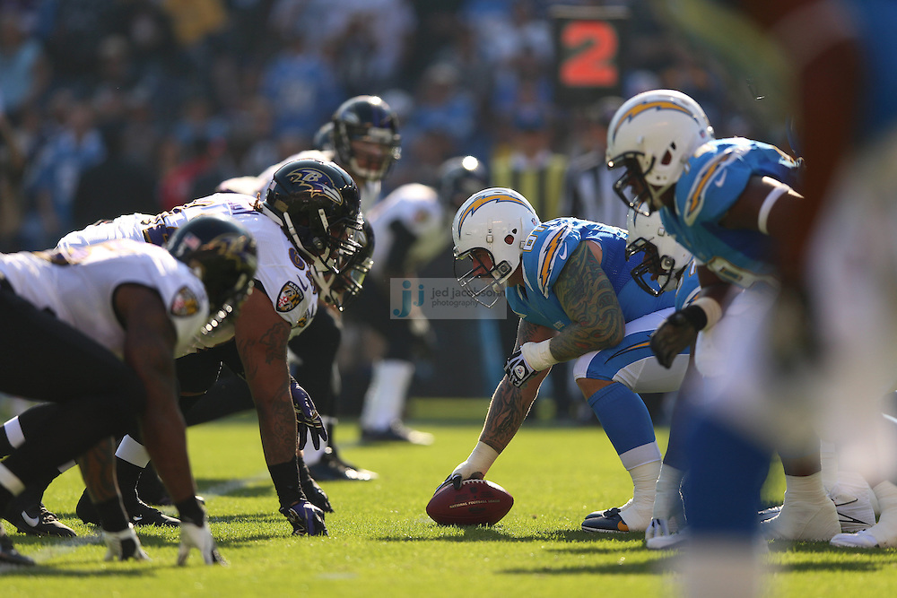 San Diego Chargers center Nick Hardwick (61) in action against the Baltimore Ravens during an NFL game on Sunday, November 25, 2012 in San Diego, CA.  (Photo by Jed Jacobsohn)