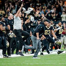 Nov 19, 2017; New Orleans, LA, USA; New Orleans Saints head coach Sean Payton and players on the sideline celebrate a game winning kick in overtime against the Washington Redskins of a game at the Mercedes-Benz Superdome. The Saints defeated the Redskins 34-31 in overtime. Mandatory Credit: Derick E. Hingle-USA TODAY Sports