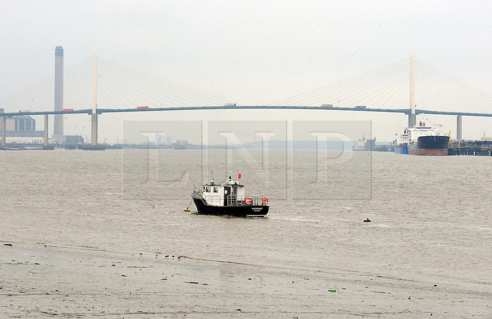 © Licensed to London News Pictures. 13/02/2016<br /> Dartford River crossing,Kent.<br />  The River Thames on Flood alert.<br /> The river Thames at Ingress Park,Greenhithe,Kent this morning (13.02.2016)<br />  (Byline:Grant FalveyLNP)