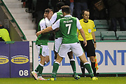 11 Danny Swanson scores equalising goal during the Betfred Scottish Cup match between Hibernian and Livingston at Easter Road, Edinburgh, Scotland on 19 September 2017. Photo by Kevin Murray.