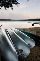 Canoes at White Lake State Park in Tamworth, New Hampshire.