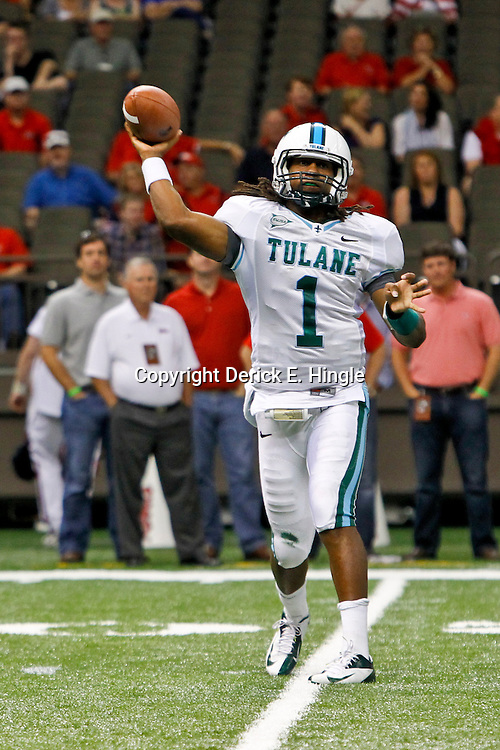 September 22, 2012; New Orleans, LA, USA; Tulane Green Wave quarterback Devin Powell (1) against the Ole Miss Rebels during a game at the Mercedes-Benz Superdome. Ole Miss defeated Tulane 39-0. Mandatory Credit: Derick E. Hingle-US PRESSWIRE