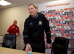 CARDIFF, WALES - Thursday, November 23, 2017: Wales' manager Jayne Ludlow arrives for a press conference ahead of the FIFA Women's World Cup 2019 Qualifying Round Group 1 match between Wales and Kazakhstan at the Cardiff City Stadium. (Pic by David Rawcliffe/Propaganda)