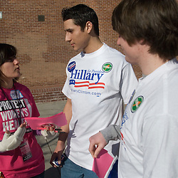 From left, Planned Parenthood volunteer Emily Sheldon, 21, speaks with Hillary Clinton supporters Jef Gamino, 19, and Rick Estell, 19, at Reno High School in Reno, Nev. Saturday, Jan. 19, 2008...Photo by David Calvert/Bloomberg News