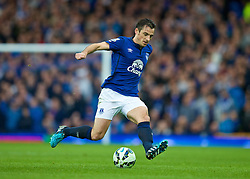 LIVERPOOL, ENGLAND - Saturday, August 30, 2014: Everton's Leighton Baines in action against Chelsea during the Premier League match at Goodison Park. (Pic by David Rawcliffe/Propaganda)