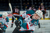 KELOWNA, CANADA - JANUARY 30: Nolan Foote #29 of the Kelowna Rockets warms up with a shot on net against the Medicine Hat Tigers on January 30, 2017 at Prospera Place in Kelowna, British Columbia, Canada.  (Photo by Marissa Baecker/Shoot the Breeze)  *** Local Caption ***