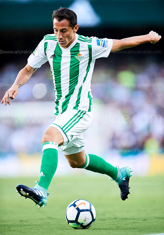 SEVILLE, SPAIN - SEPTEMBER 16:  Andres Guardado of Real Betis Balompie in action during the La Liga match between Real Betis and Deportivo La Coruna  at Estadio Benito Villamarin on September 16, 2017 in Seville, .  (Photo by Aitor Alcalde Colomer/Getty Images)
