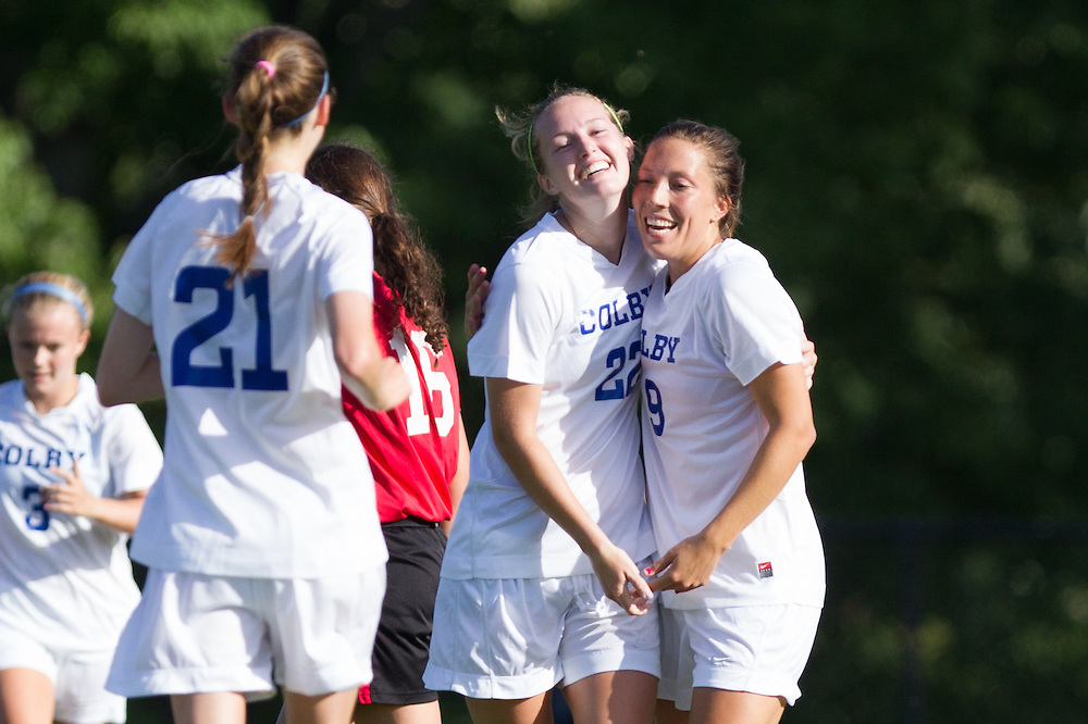 Lauren McCarthy and Cami Notaro, of Colby College, in a NCAA Division III soccer game on September 10, 2014 in Waterville, ME. (Dustin Satloff/Colby College Athletics)